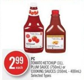 PC Tomato Ketchup (1l) - Plum Sauce (750ml) or Cooking Sauces (350ml - 400ml)