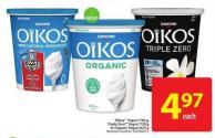 Danone Oikos Yogurt 750 g Triple Zero Yogurt 750 g or Organic Yogurt 625 g