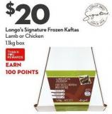 Longo's Signature Frozen Kaftas  Lamb or Chicken 1.1kg Box
