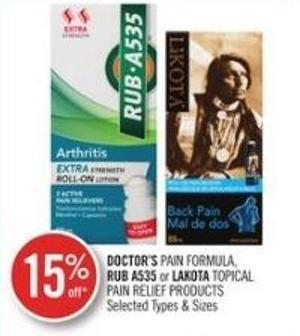 Doctor's Pain Formula Rub A535 or Lakota Topical Pain Relief Products