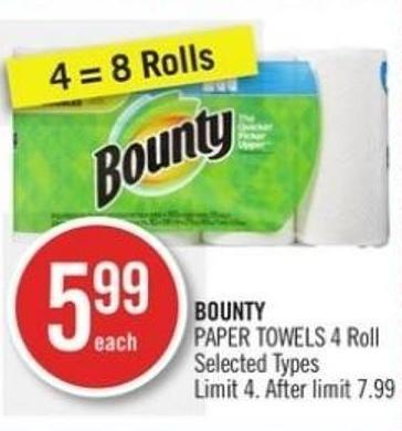Bounty Paper Towels 4 Roll