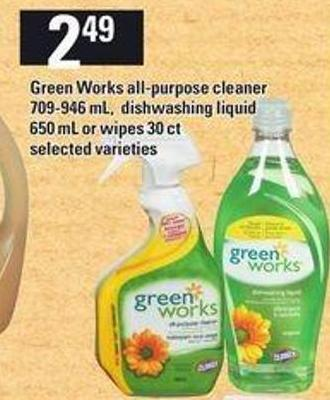 Green Works All-purpose Cleaner - 709-946 mL - Dishwashing Liquid 650 Ml Or Wipes - 30 Ct