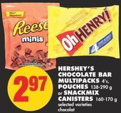 Hershey's Chocolate Bar Multipacks 4's - Pouches - 138-290 g or Snackmix Canisters - 160-170 g