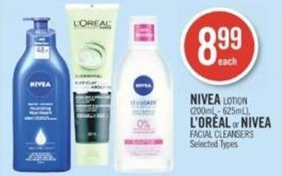 Nivea Lotion (200ml - 625ml) - L'oréal or Nivea Facial Cleansers