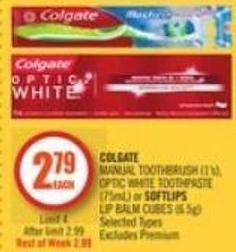 Colgate Manual Toothbrush (1's) - Optic White Toothpaste (75ml) or Softlips Lip Balm Cubes (6.5g)