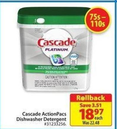 Cascade Actionpacs Dishwasher Detergent