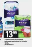 Always Discreet Incontinence Underwear Or Pads - 10-66's