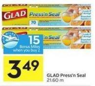 Glad Press'n Seal 21.60 M - 15 Air Miles Bonus Miles