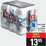 Coors Light Cans - 6 X 473 Ml