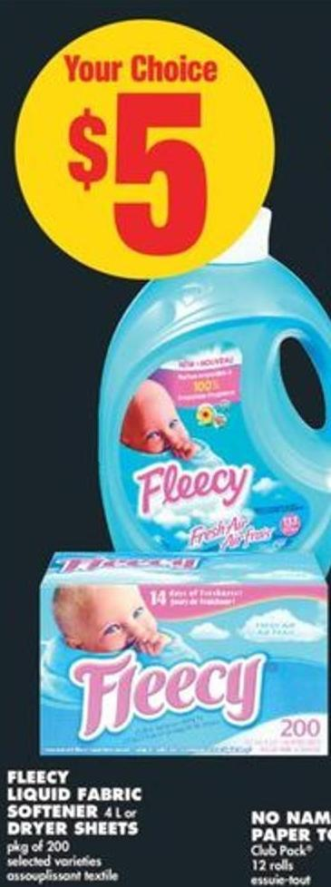 Fleecy Liquid Fabric Softener 4 L or Dryer Sheets - Pkg of 200
