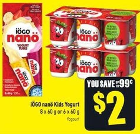 Iögo Nanö Kids Yogurt 8 X 60 g or 6 X 60 g