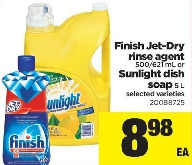 Finish Jet-dry Rinse Agent - 500/621 mL or Sunlight Dish Soap 5 L