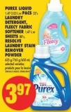 Purex Liquid - 1.47-2.03 L or Pacs - 23's Laundry Detergent - Fleecy Fabric Softener - 1.47 L or Sheets - 80's - Resolve Laundry Stain Remover Powder - 625 G/765 G/650 mL