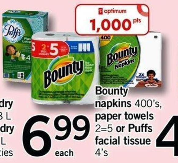 Bounty Napkins - 400's Paper Towels - 2=5 Or Puffs Facial Tissue - 4's