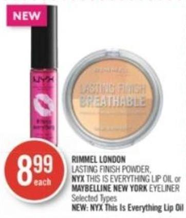 Rimmel London Lasting Finish Powder - Nyx This Is Everything Lip Oil or Maybelline New York Eyeliner