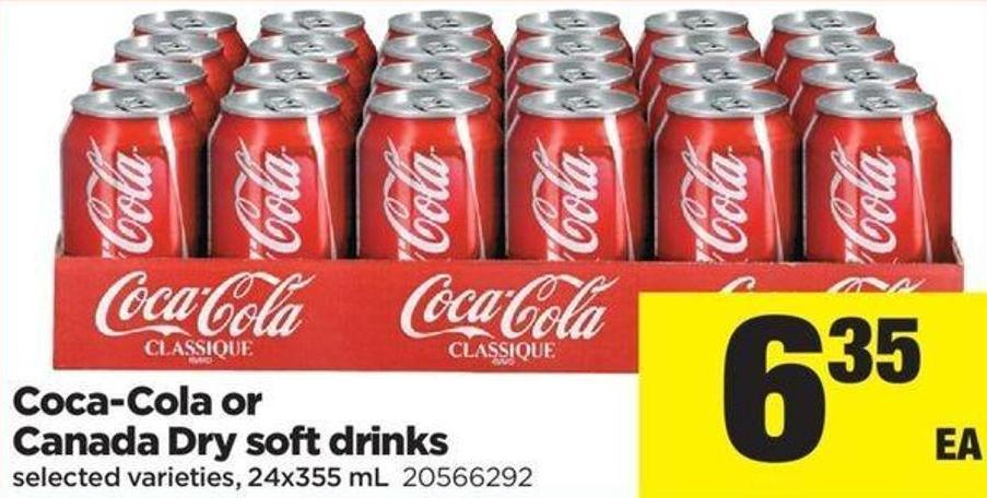 Coca-cola or Canada Dry Soft Drinks - 24x355 mL