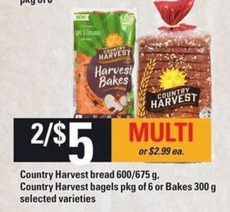 Country Harvest Bread 600/675 G - Country Harvest Bagels Pkg Of 6 Or Bakes 300 G