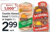 Country Harvest Bread - 570/600 g Or Bagels - 6's