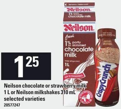 Neilson Chocolate Or Strawberry Milk 1 L Or Neilson Milkshakes 310 mL