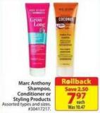 Marc Anthony Shampoo - Conditioners or Styling Products