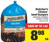Butcher's Choice Beef Burgers - 1.13 Kg
