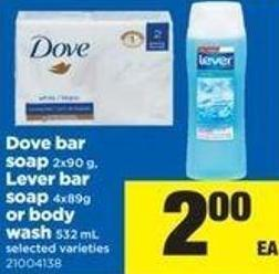 Dove Bar Soap - 2x90 G - Lever Bar Soap 4x89g Or Body Wash - 532 Ml