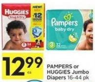 Pampers or Huggies Jumbo Diapers 16 - 44 Pk
