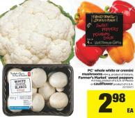 PC Whole White Or Cremini Mushroom - 454 g Or Farmer's Market Sweet Peppers - 4 Ct Bag