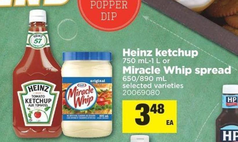 Heinz Ketchup - 750 Ml/1 L Or Miracle Whip Spread - 650/890 Ml