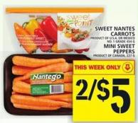 Sweet Nantes Carrots Or Mini Sweet Peppers