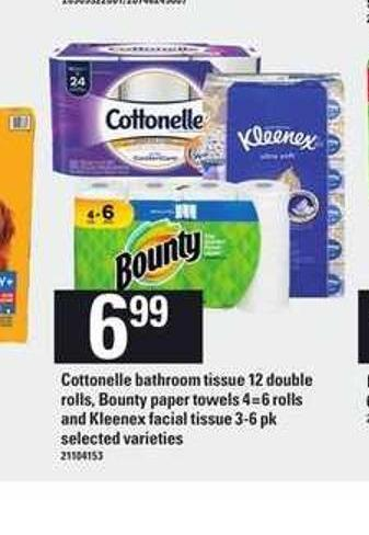 Cottonelle Bathroom Tissue - 12 Double Rolls - Bounty Paper Towels - 4=6 Rolls And Kleenex Facial Tissue - 3-6 Pk