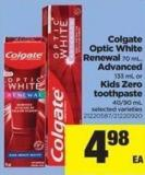 Colgate Optic White Renewal - 70 Ml - Advanced - 133 Ml Or Kids Zero Toothpaste - 40/90 Ml