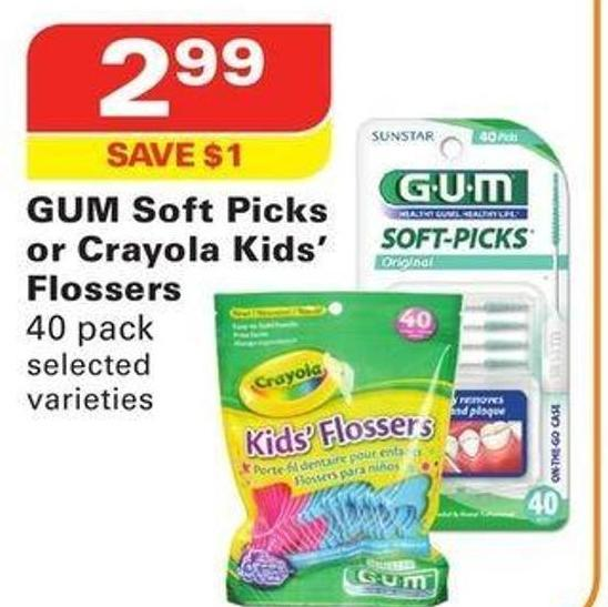 GUM Soft Picks or Crayola Kids' Flossers
