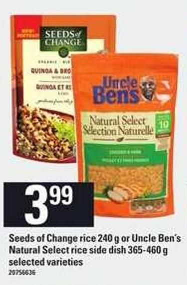Seeds Of Change Rice 240 g or Uncle Ben's Natural Select Rice Side Dish 365-460 g