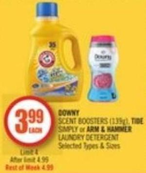 Downy Scent Boosters (139g) - Tide Simply or Arm & Hammer Laundry Detergent