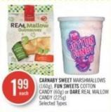 Carnaby Sweet Marshmallows (160g) - Fun Sweets Cotton Candy (60g) or Dare Real Mallow Candy (225g)