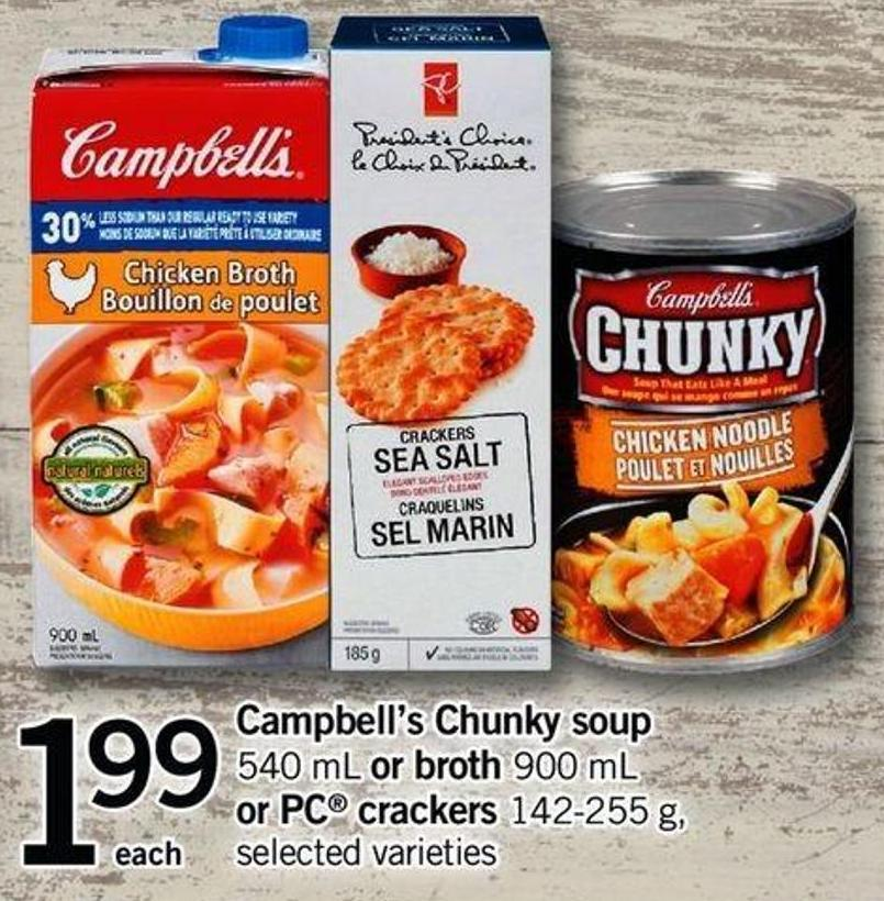 Campbell's Chunky Soup - 540 Ml Or Broth - 900 Ml Or PC Crackers - 142-255 G