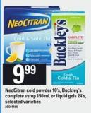 Neocitran Cold Powder - 10's - Buckley's Complete Syrup 150 Ml Or Liquid Gels - 24's