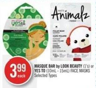 Masque Bar By Look Beauty (1's) or Yes To (10ml - 15ml) Face Masks