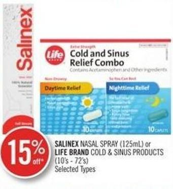 Salinex Nasal Spray (125ml) or Life Brand Cold & Sinus Products (10's - 72's)