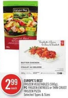 Europe's Best  Frozen Vegetables (500g) - PC Frozen Entrees or Thin Crust Frozen Pizza