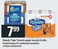 Royale Tiger Towels Paper Towels 6 Rolls - Facial Tissue 6's