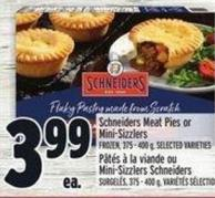 Schneiders Meat Pies Or Mini-sizzlers Frozen - 375 - 400 g