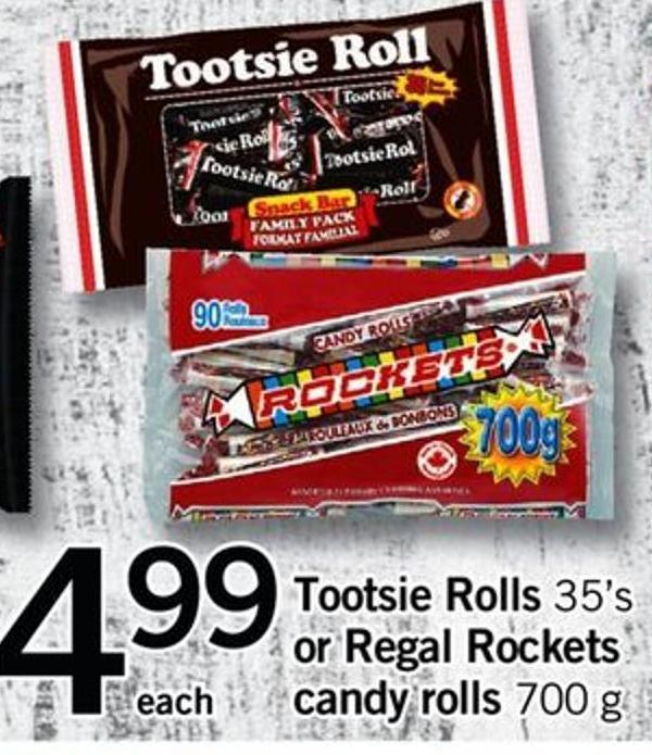 Tootsie Rolls - 35's Or Regal Rockets Candy Rolls - 700 G