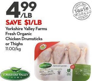 Yorkshire Valley Farms Fresh Organic Chicken Drumsticks or Thighs