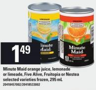 Minute Maid Orange Juice - Lemonade Or Limeade - Five Alive - Fruitopia Or Nestea - 295 Ml