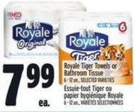 Royale Tiger Towels Or Bathroom Tissue 6 - 12 Un. -