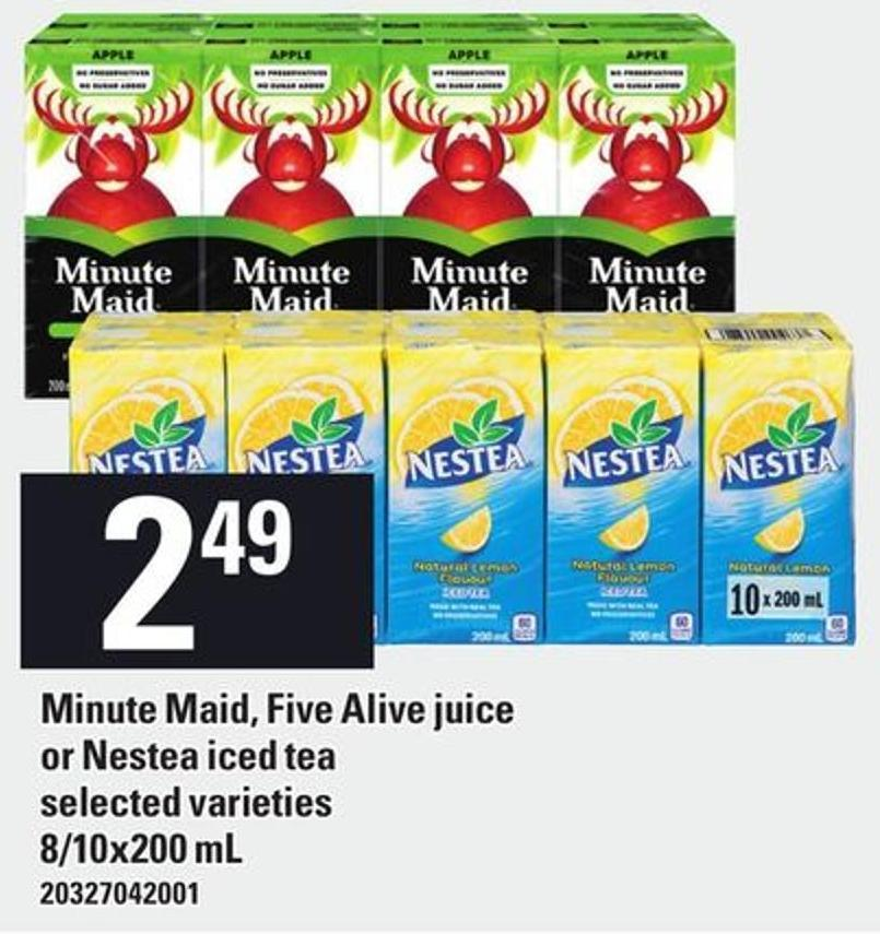 Minute Maid - Five Alive Juice Or Nestea Iced Tea 8/10x200 Ml