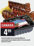 Fresh Canadian Cove Mussels 907 G Or Previously Frozen Lobster Tails 2-3 Oz Size Each