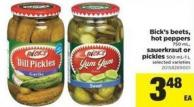 Bick's Beets - Hot Peppers 750 Ml - Sauerkraut Or Pickles 500 Ml-1 L